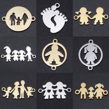 5pcs/lot Family DIY Charms Wholesale 100% Stainless Steel Dad Mom Boy Connectors Charm Girl Sisters Brothers Jewelry Pendant