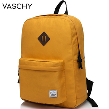 VASCHY สำหรับวัยรุ่นกระเป๋าเป้สะพายหลังกระเป๋าเดินทางกระเป๋าหนังสือแฟชั่นคลาสสิก University นักเรียนกระเป๋าเป้สะพายหลัง Mochilas สีเหลือง