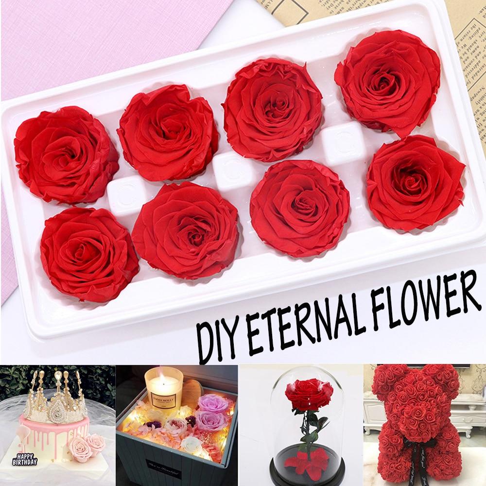 8 шт. разноцветные вечные розы в 4-5 см, натуральные консервированные цветы, неувядающая Роза, подарок на день матери, свадебное украшение, Пря...