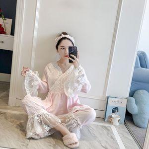 Image 5 - Patchwork dentelle mode femme coton mélange Kimono pyjamas ample à manches longues pantalon ensemble vêtements de nuit