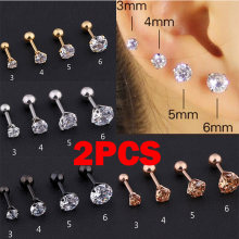 2 pcs Medical Stainless steel Crystal Zircon Ear Studs Earrings For Women/Men 4 Prong Tragus Cartilage Piercing Jewelry