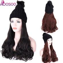 Длинные волнистые парики с эластичными вязанными шляпы парики черный белый колпачок термостойкие синтетические Натуральные Искусственные волосы парики для женщин зима