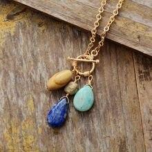 Pedra natural étnica pingente de lágrima lariat colar de corrente de tom de ouro colar único boêmio jóias atacado dropshipping