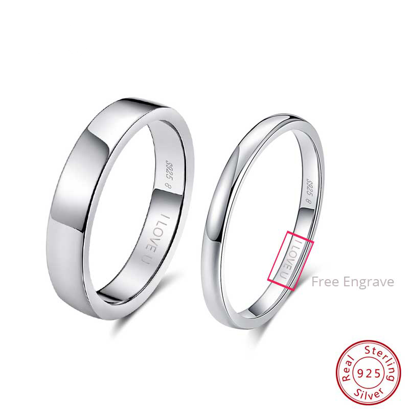 Ring Engrave Couple Wedding-Engagement-Rings Words Fine-Jewelry Effie-Queen 925-Sterling-Silver