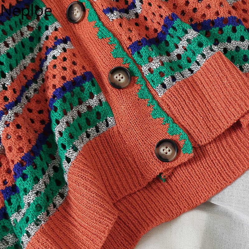 Neploe/осенний корейский свитер кавайного цвета, женский сексуальный свитер с v-образным вырезом, кардиган с крючком, в полоску, плотное пальто, 46056