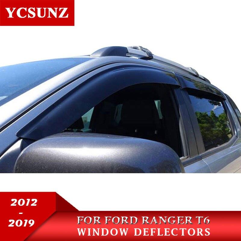 Auto Fenster Deflektoren Für Ford Ranger T6 T7 T8 Wildtrak 2012-2019 2020 YCSUNZ