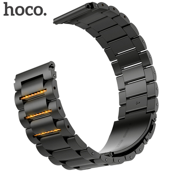 HOCO 22mm Width Stainless Steel Band for Samsung Gear Sport S3 Galaxy Watch Strap Metal Wristband , Black and Silver Color