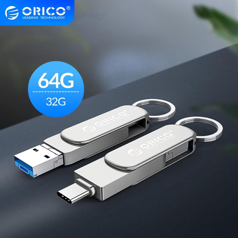 ORICO 3-In-1 OTG USB Flash Drive Type-C USB3.0 Micro-B 64GB 32GB USB3.0 Flash Memory USB Stick Flash U Disk For Phone/Tablet/PC(China)