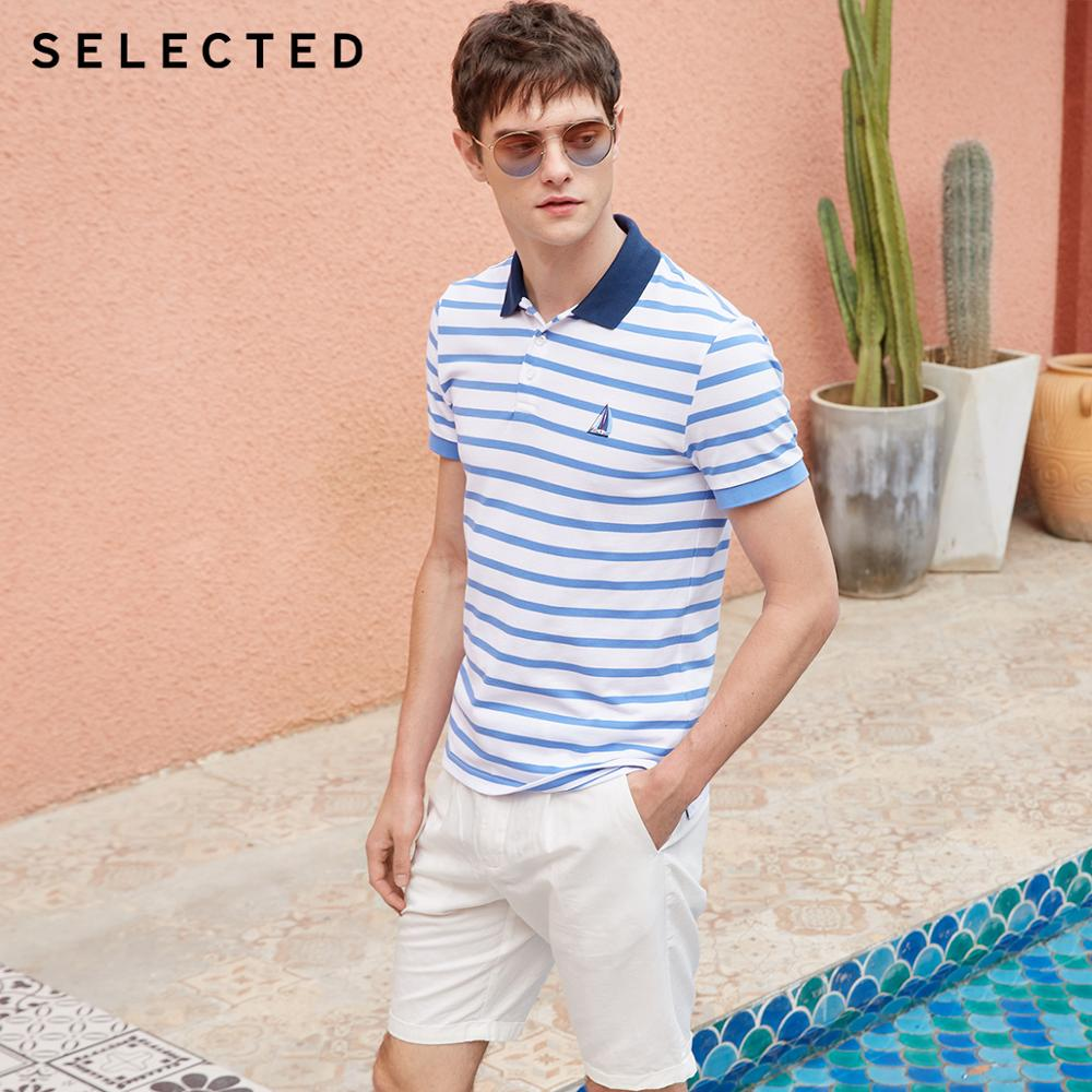 SELECTED Men's Summer Slim Fit Striped Turn-down Collar Short-sleeved Poloshirt S|419206519