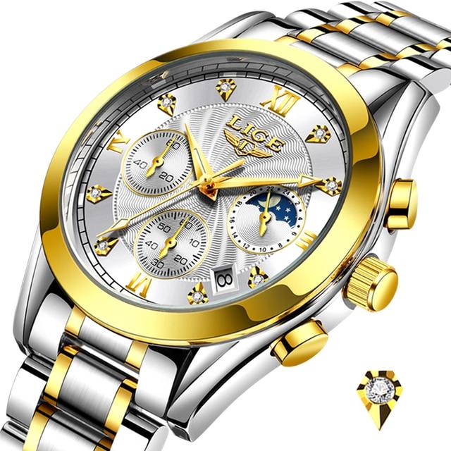 LIGE Fashion Women Watches Ladies Brand Luxury Stainless Steel Calendar Sport Quartz Watch Women Waterproof Watch Montre Femme 6
