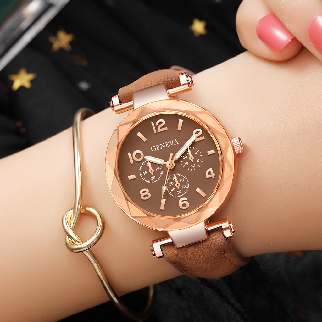 Cassic Style Women Watches Roman Numerals Dot Dial Ladies Irregular Quartz Wristwatch Leather Strap Geneva Clock Female @50