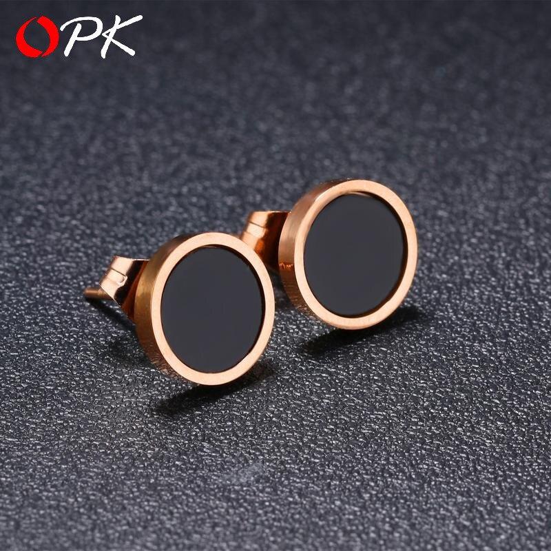 OPK japonais et coréen populaire noir boucles d'oreilles titane acier plaqué or rose boucles d'oreilles simple mode bijoux pour les femmes
