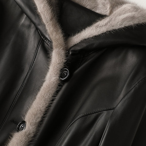 Image 4 - Classic Autumn Winter Leather Mink Collar Hooded Down Jackets Woman Thick Warm Black Real Fur Long Coat High Quality Outwear