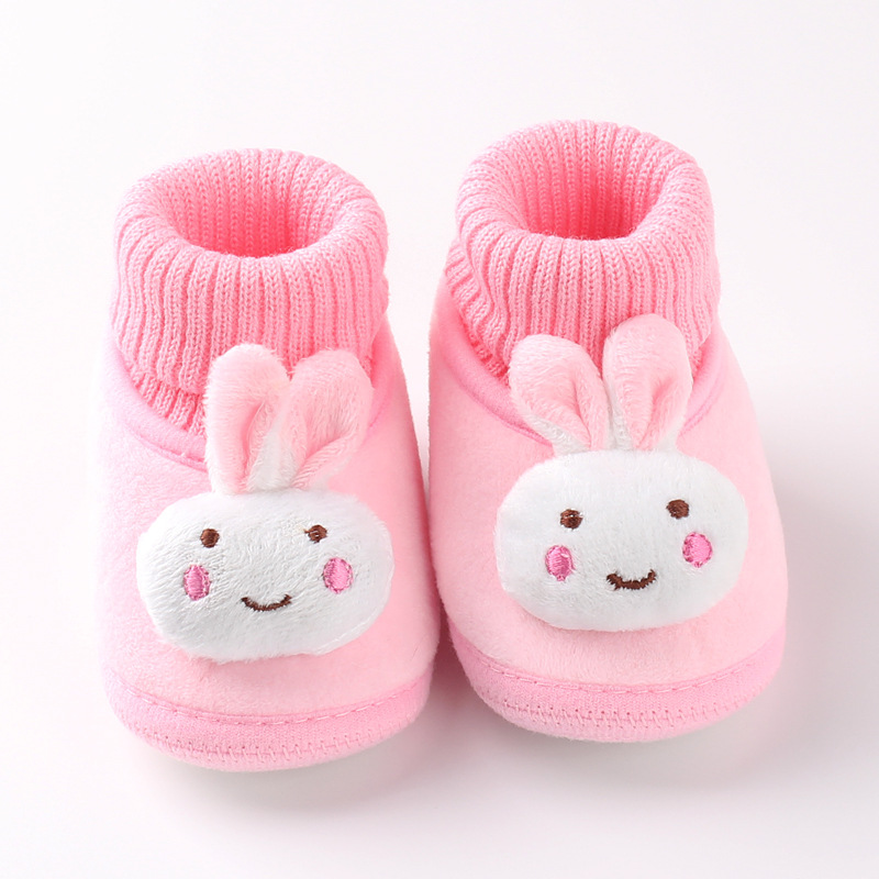 Winter Cartoon Rabbit Shoes Cute Thicken Wool Cotton Bunny Baby Boys Girls Frist Walker Shoes Warm Fleece Knitted Padded Shoes