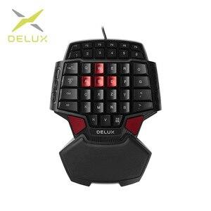 Image 1 - Delux T9 przewodowa jednoręczna klawiatura do gier ergonomiczna konstrukcja jednoręczna klawiatura Gamepad klawiatura do gier