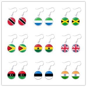 Trinidad,Sierra leone,Jamaica,Guyana,Ghana,UK,Libya,Estonia,India National Flag Glass Cabochon Drop Earrings Jewelry For Women(China)