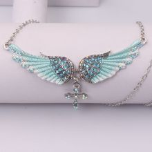 FXM fashion light blue angel wings cross pendant stainless steel necklace creative rhinestone neck chain clavicle