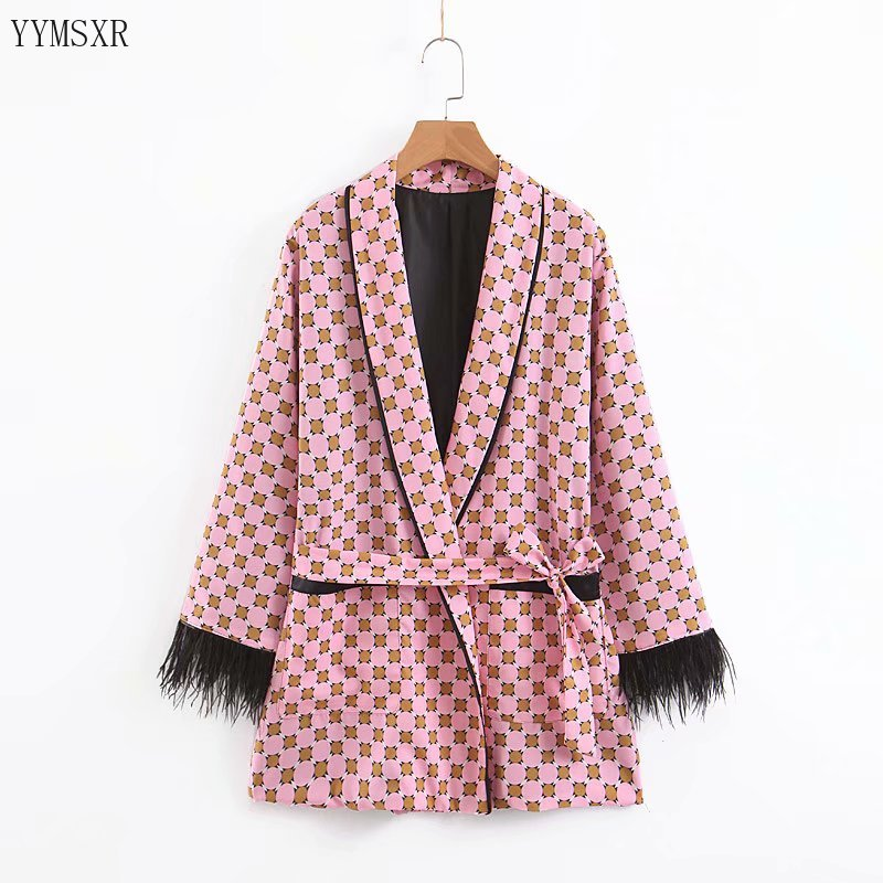 2020 new spring and autumn ladies jacket Casual temperament printed women's blazer Tassel long sleeve suit feminine