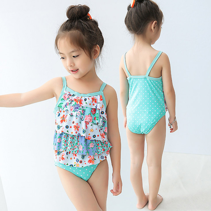 Special Offer Closeout Processing KID'S Swimwear Baby Infants GIRL'S Blue Print One-piece Cute Students Swimwear