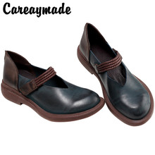 Careaymade-In the spring and Autumn period, new type of leather is painted by hand shoes,the retro art mori girl Flats shoes