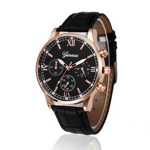 Black Watch Leather Band Quartz Gold Watch Alloy Top Busines