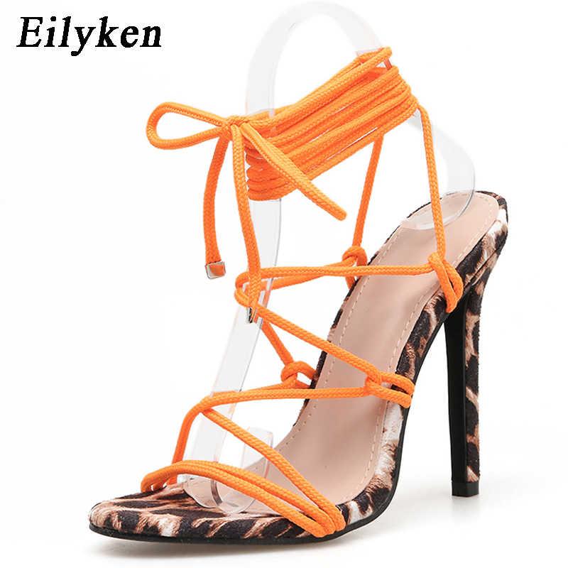 Eilyken Sexy di Estate Talloni Delle Donne Dei Sandali Open Toe Tacco Alto a Spillo Sandali Croce Legato Fibbia da Sposa Arancione Del Partito di Scarpe
