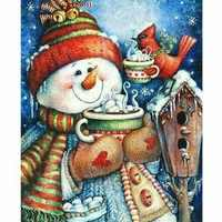 Full Square Diamond Painting Christmas Winter Snowman Design Embroidery Displays