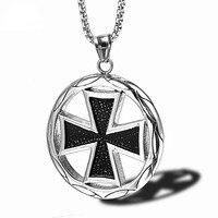 Neue Kreuz Ritter Templer Halskette Runde Anhänger für Männer Junge Deutsch Eisen Kreuz Edelstahl Military Halsketten Männlichen Schmuck