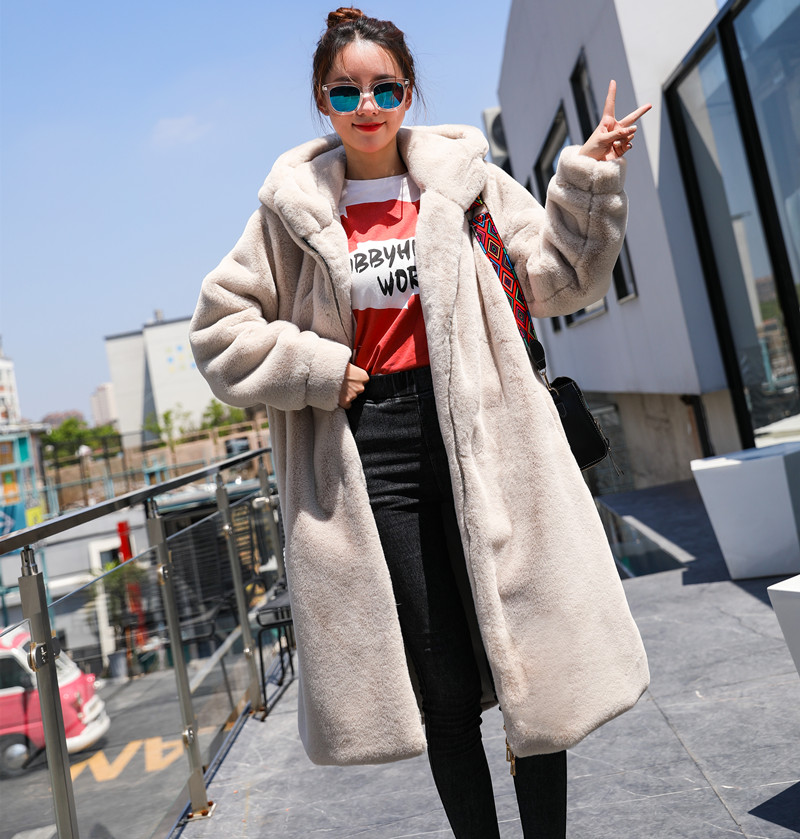 Hooded Winter And Autumn 2019 Women Fur Coat Wide-waisted Long Imitation Thickening Rabbit Loose Wool Coat