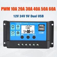 10A 20A 30A 40A 50A 60A за максимальной точкой мощности, Солнечный Контроллер заряда 12V 24V режимы Auto, PWM 5V Выход регулятор фотоэлектрических домашних Батарея Зарядное устройство ЖК-дисплей с двумя портами USB