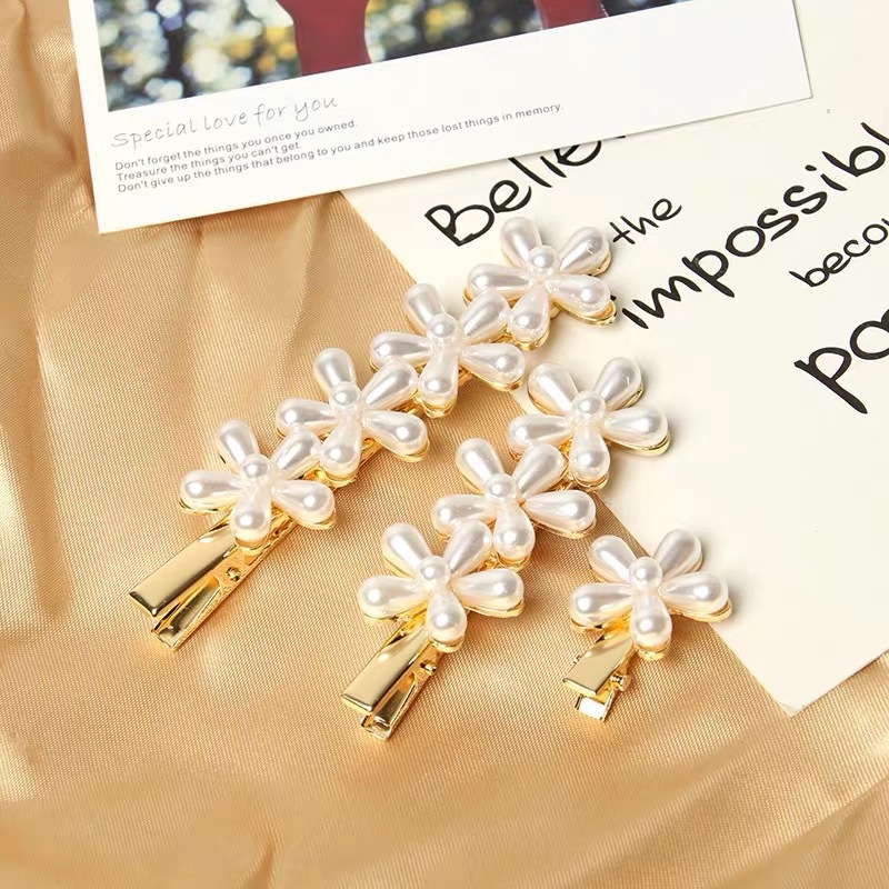 1PCs Imitation Pearl Flower Hair Clip Elegant Headwear Retro Stylish Pearl Clips Jewelry Hairpin Women Styling Hair Accessories