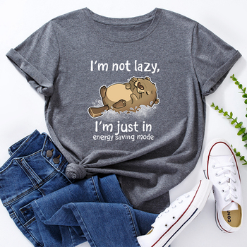 Damskie bawełniane koszulki graficzne koszulki damskie letnie koszulki z krótkim rękawem koszulki słodkie zwierzę niedźwiedź nie jestem leniwy list drukuj śmieszne koszulki tanie i dobre opinie FALYMO REGULAR Sukno CN (pochodzenie) Lato COTTON NONE tops Z KRÓTKIM RĘKAWEM SHORT Dobrze pasuje do rozmiaru wybierz swój normalny rozmiar