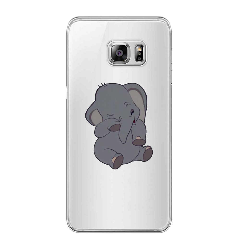 Hoạt Hình Động Vật Dễ Thương Dumbo Bé Para Samsung Galaxy S6 S7 S8 S9 A7 2018 Plus Edge Note 8 9 Chống mùa Thu Animados 3D Ốp Lưng Silicon