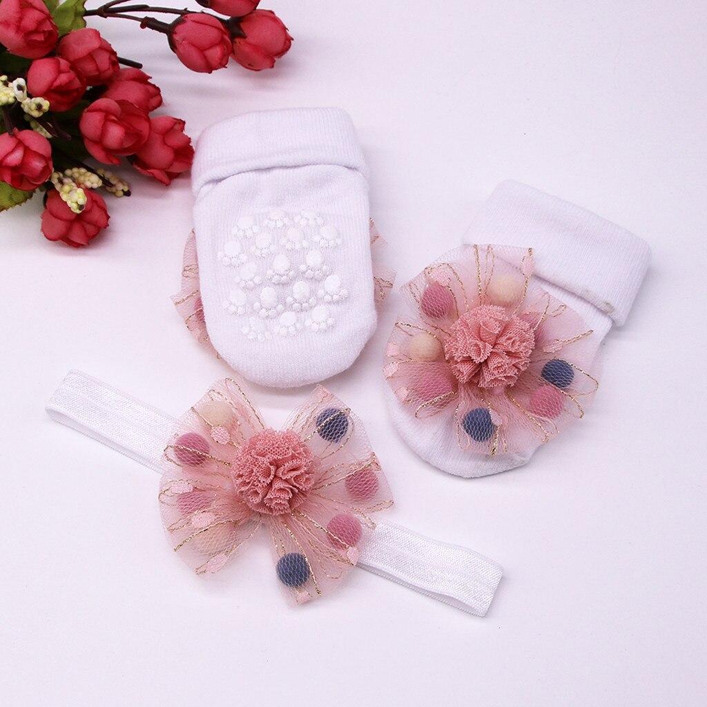 Милые носки для малышей; носки для младенцев+ 1 шт.; пояс для волос; нескользящие носки для маленьких девочек; носки с аппликацией