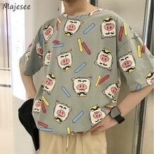 T-shirts manches courtes pour hommes, Oversize 3XL, dessin animé cochon imprimé, T-shirts à la mode Harajuku, ample, loisirs Kawaii, Tee-shirt Couple Chic Ins