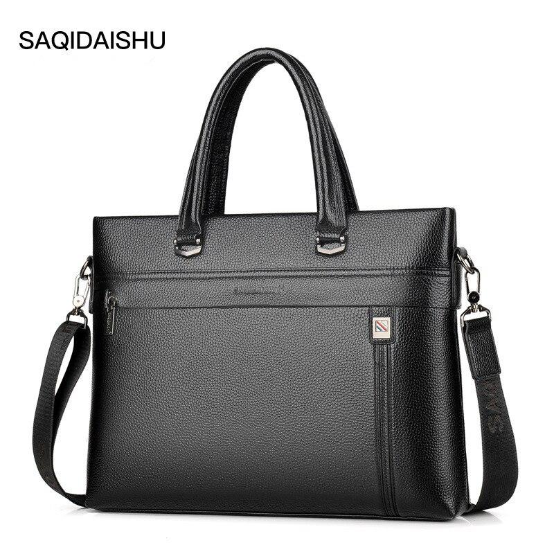 Men' S Business Briefcase New Design PU Leather Computer Laptop Handbag Casual Shoulder Bag Messenger Bag Male Travel Bag