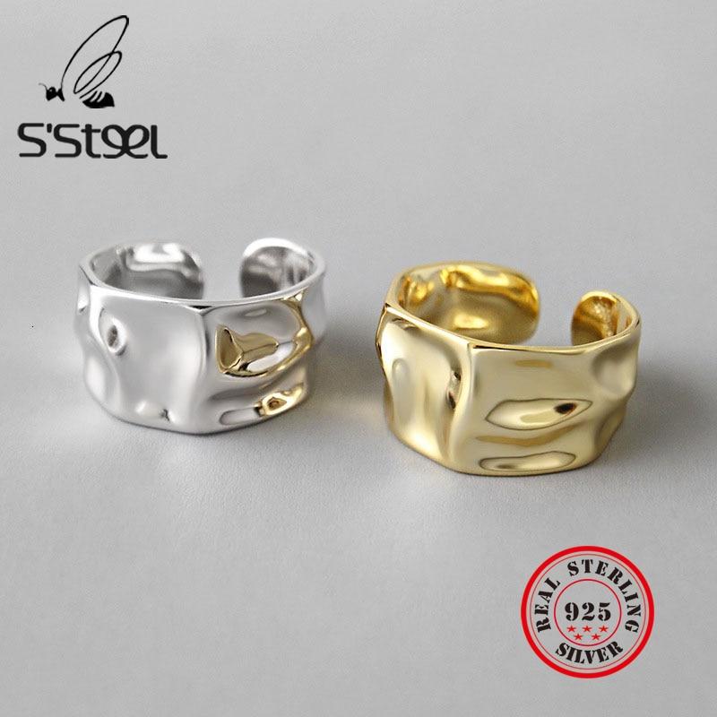 Irregular 925 Sterling Silver Rings Female Resizable Korea Ring Handmade Anillos Plata 925 Para Mujer Bijoux Femme 2019 Jewelry