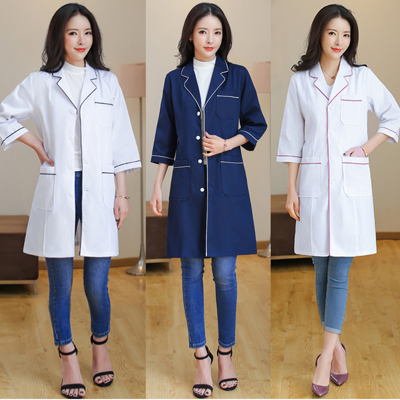 Beauty Salon Workwear Medical Surgical White Coats Nurse Long Section Uniforms Hospital Doctor Lab Coats Famale Spa Uniform New