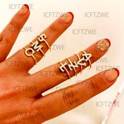 Zircon initiale lettre anneaux pour femmes en acier inoxydable or A-Z 26 lettres bague 2021 Valentine amitié bijoux cadeau