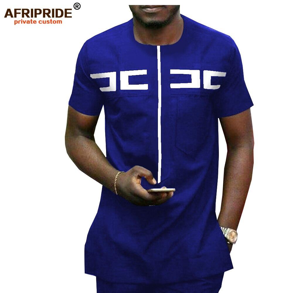 African Men Clothing Ankara Pants Set Dashiki Shirt 2 Piece Outfit Crop Top Attire Short Sleeve Casual AFRIPRIDE A1916030