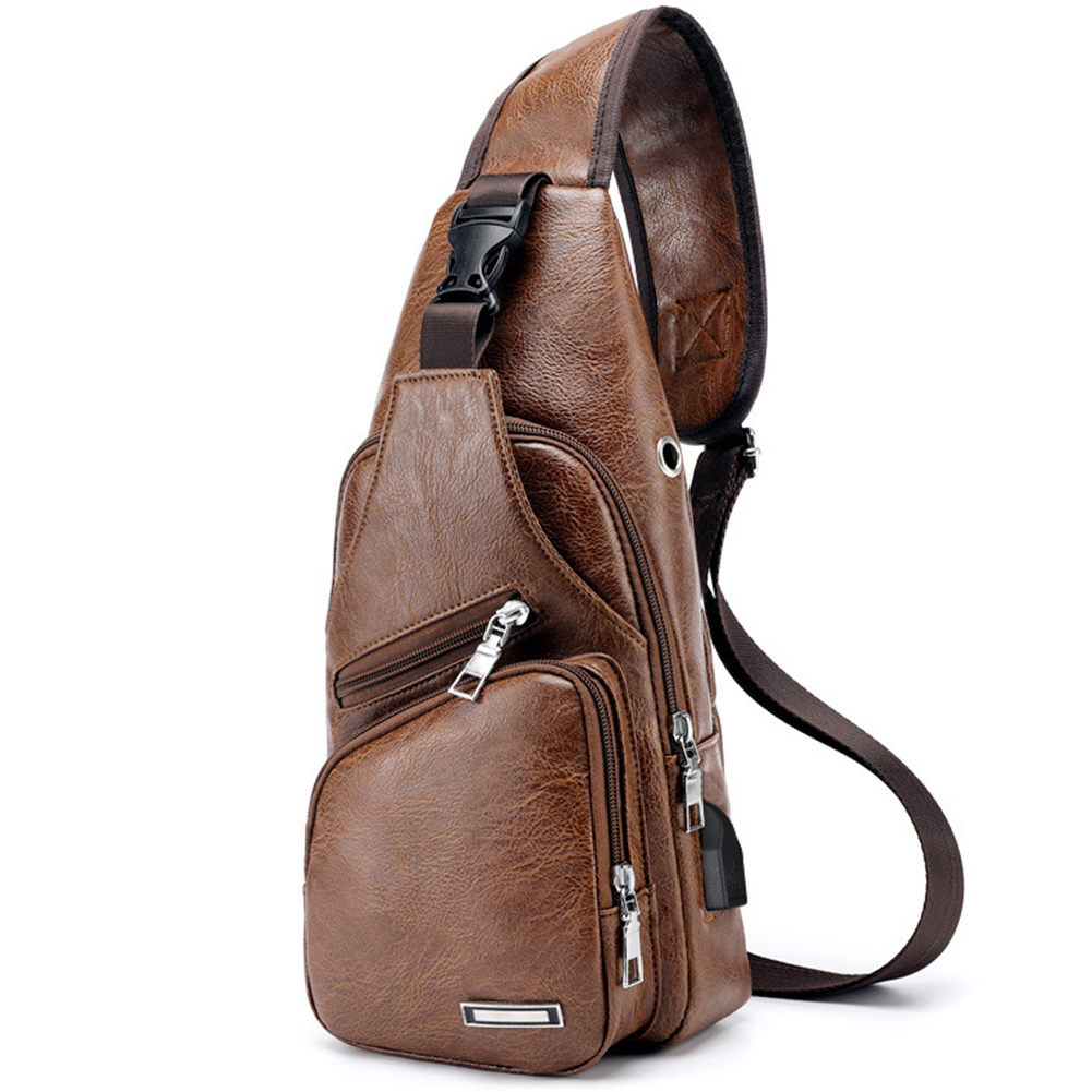 Chest Bag Cross Body Leather Sports USB Casual Messenger Single Shoulder Men