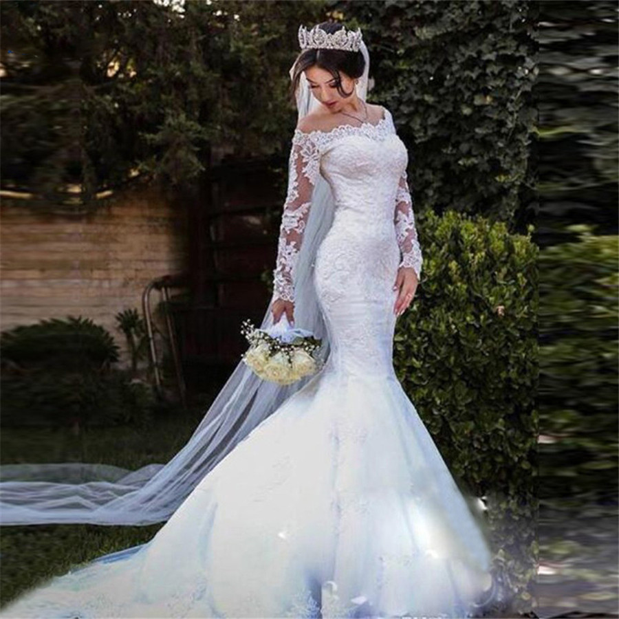 2020 Scoop Long Sleeves Mermaid Wedding Dresses Appliques Lace Bridal Gowns Customized Plus Size