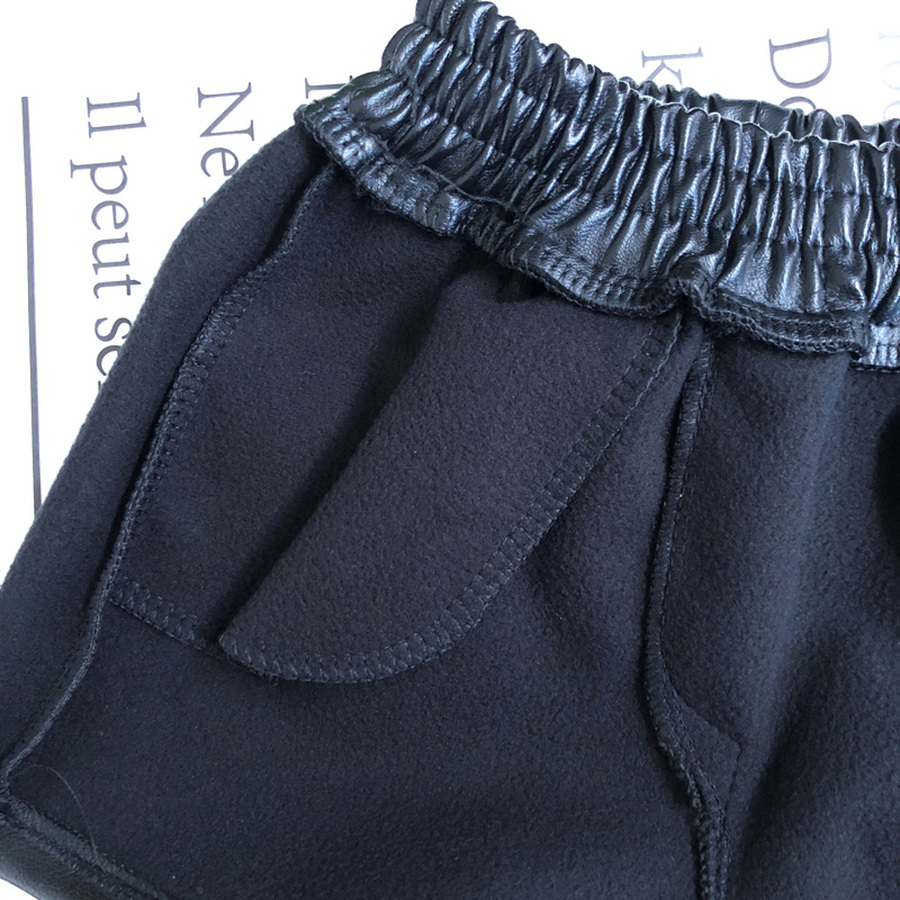 Faux Leather Short Girls Winter Fleece Warm Thick Short Pants Children Casual Solid Leather Bottom 4