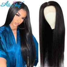 알리 스카이 브라질 레이스 프런트 인간의 머리가 발 스트레이트 헤어 100% 레미 인간의 머리가 발 흑인 여성을위한 HD 레이스 정면 가발 150 13*4