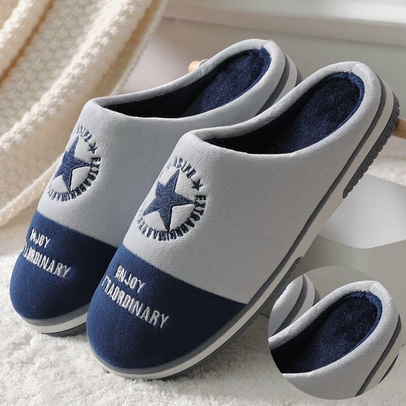 Мужские домашние тапочки, зимняя теплая Домашняя хлопковая обувь на толстой подошве, Мягкая Повседневная обувь для дома