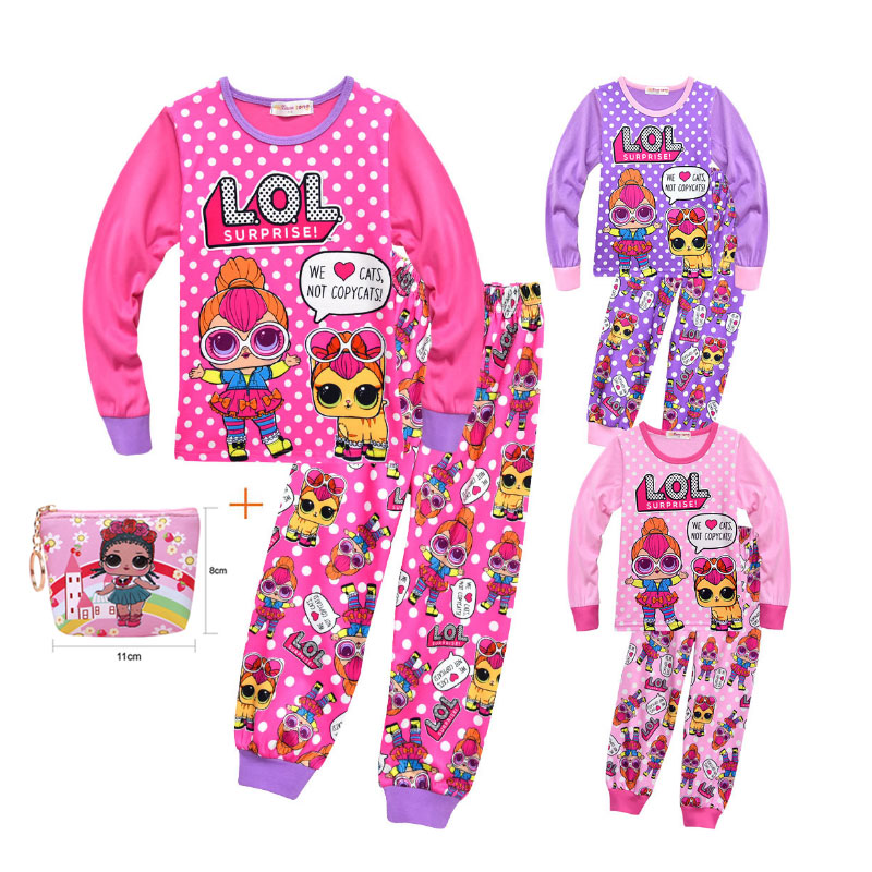 Surprise Girl Doll LOl Pajamas Set 2019 New Cartoon Girls Baby Long-sleeved Trousers Casual Pajamas Set
