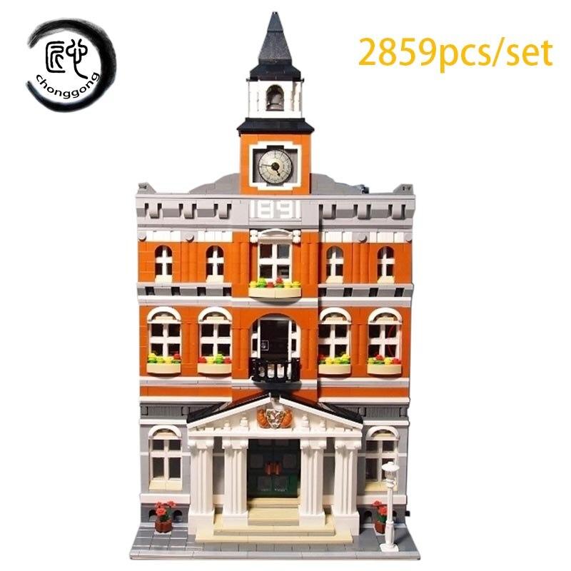 New series Town hall model set of building blocks fit 10224city creator technic figures Kid diy