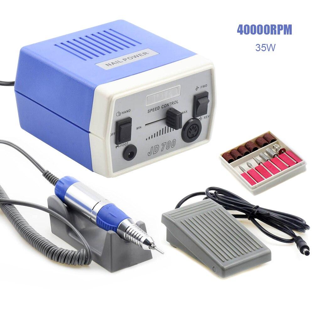 35 w 40000 rpm jd700 pro elétrica máquina de broca do prego equipamentos manicure pedicure arquivos da arte do prego broca caneta máquina conjunto ferramentas