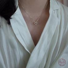 925 srebro prosta cyrkonia serce łańcuszek z wisiorek długość do linii obojczyków naszyjnik kobiety klasyczna moda 14k prawdziwe złoto biżuteria