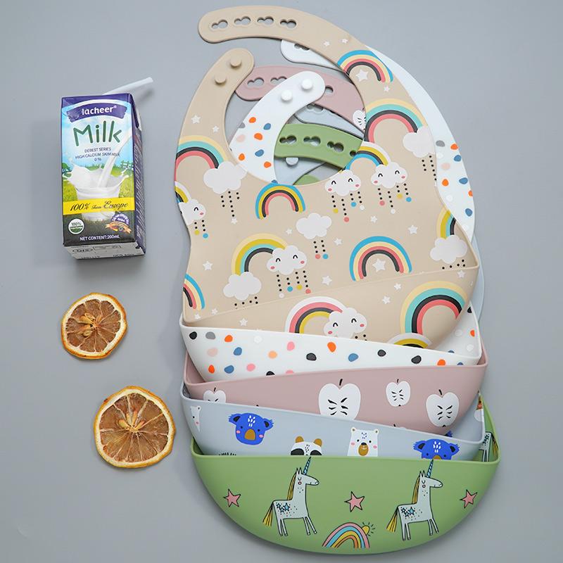 2020 New Printed Carton Silicone Bib Waterproof  Baby Feeding Newborn Cartoon Aprons Adjustable Baby Bibs Burp Cloth